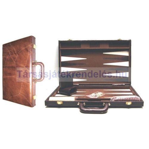 Backgammon, valódi bőr kofferban, 46x30 cm-es, barna