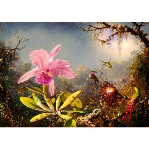 Art by Bluebird 1000 db-os puzzle - Martin Johnson Heade: Cattleya Orchid and Three Hummingbirds, 1871 - 60097