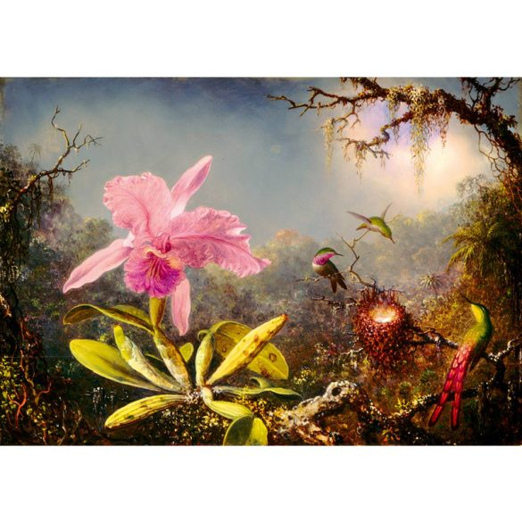 Art by Bluebird 1000 db-os puzzle - Martin Johnson Heade: Cattleya Orchid and Three Hummingbirds, 1871 - 60097