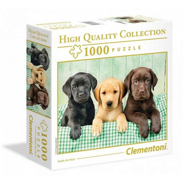 Clementoni 1000 db-os puzzle négyzet alakú dobozban - Labrador kölykök 96502