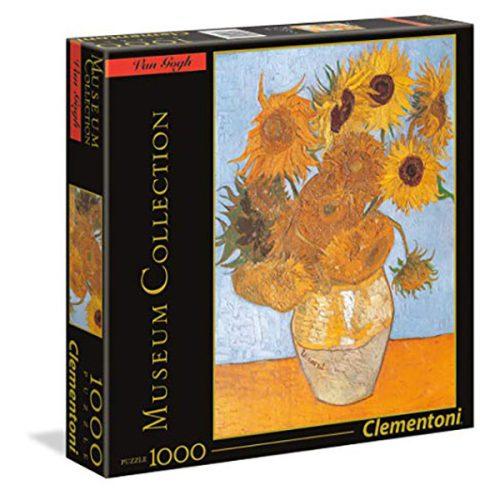 Clementoni 1000 db-os Múzeum Kollekció puzzle négyzet alakú dobozban - Van Gogh - Napraforgók 98306
