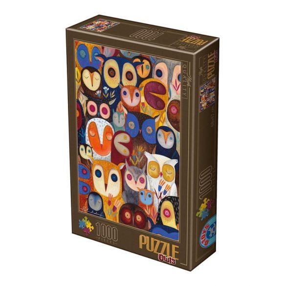 D-Toys 1000 db-os Puzzle - Kürti Andrea: Collage - Owls - 74508