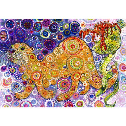 Grafika 1500 db-os puzzle - Sally Rich: Otters Catch 00900T