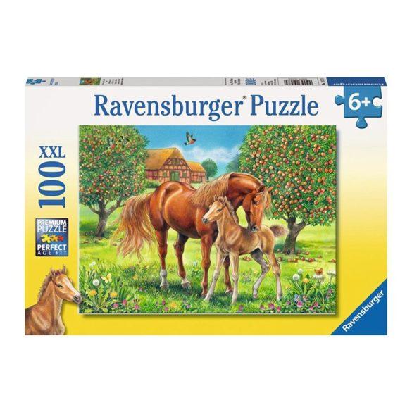Ravensburger 100 db-os XXL puzzle -  Boldog lovak a réten 10577