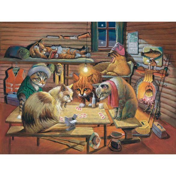 Sunsout 500 db-os puzzle - Bryan Moon - Cats Playing Poker 28005