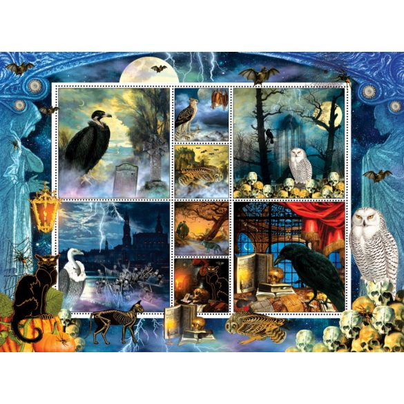 Sunsout 1000 db-os puzzle - Finchley Paper Arts - Halloween Stamps Spooky 55926